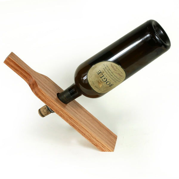 Wine Bottle Holder in Red Oak