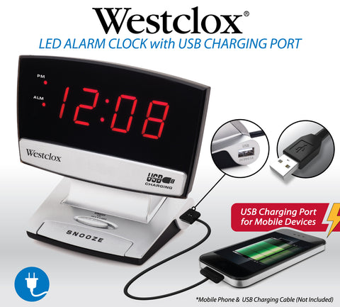 Westclox Plasma Screen Alarm Clock with USB Charging for Smartphones - SXE Electronics - 1
