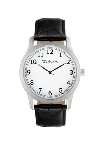 Westclox Stainless Steel Mens White Dial Dress Watch