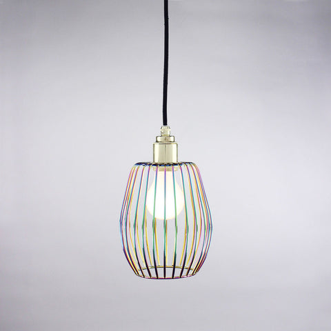 Ball cage pendant light in iridescent aurora finish.