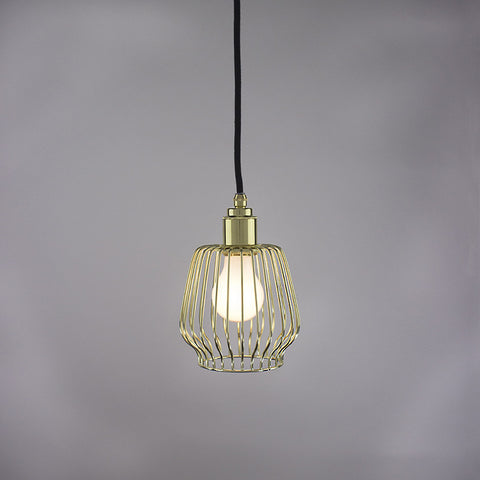 Bell cage pendant light in brass finish.