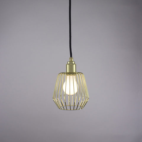 Diamond cage pendant light in brass finish.