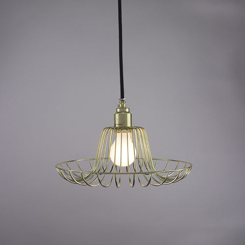 Flare cage pendant light in brass finish.