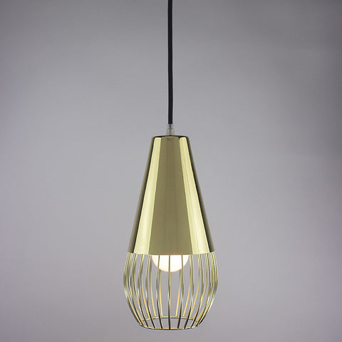 Cone shade and ball cage pendant light in brass finish.