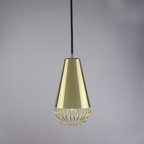 Cone shade and bell cage pendant light in brass finish.
