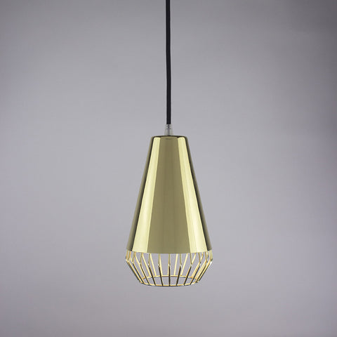 Cone shade and diamond cage pendant light in brass finish.