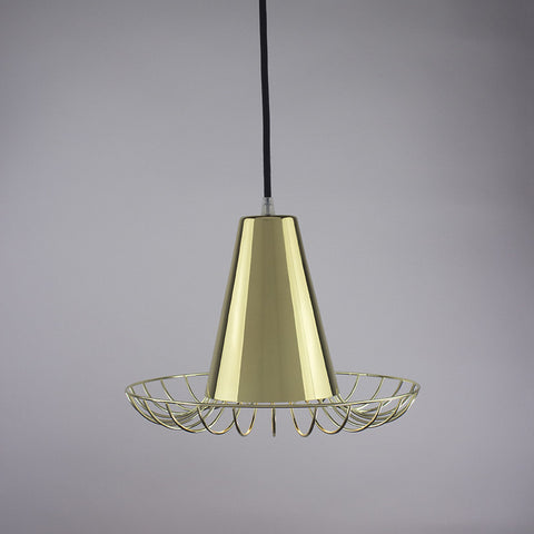 Cone shade and flare cage pendant light in brass finish.