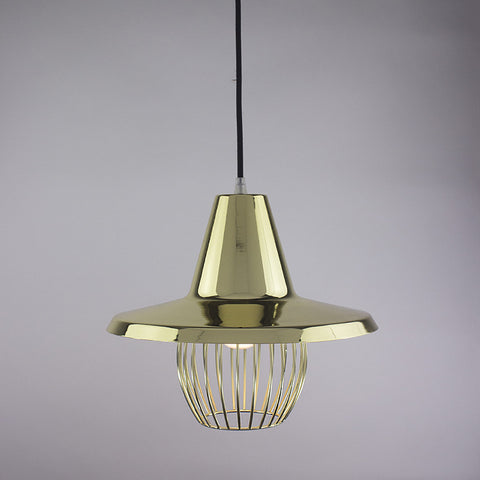Flare shade and ball cage pendant light in brass finish.