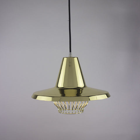 Flare shade and bell cage pendant light in brass finish.