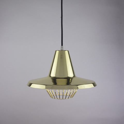 Flare shade and diamond cage pendant light in brass finish.