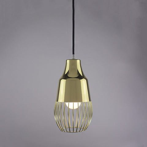 Horn shade and ball cage pendant light in brass finish.