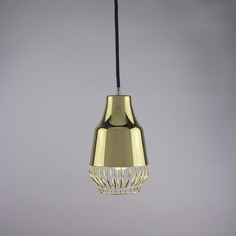 Horn shade and bell cage pendant light in brass finish.
