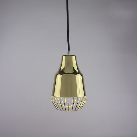 Horn shade and diamond cage pendant light in brass finish.