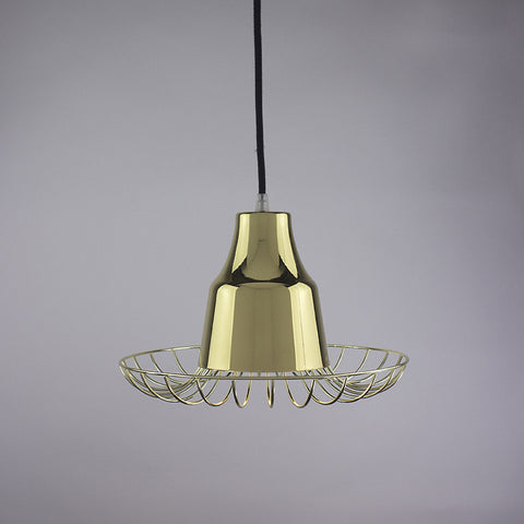 Horn shade and flare cage pendant light in brass finish.