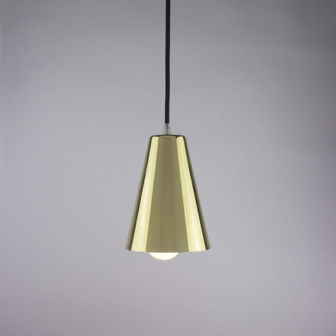 Cone shade pendant light in brass finish.
