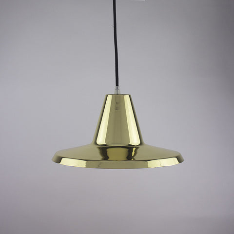 Flare shade pendant light in brass finish.