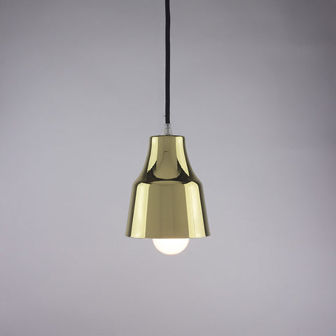Horn shade pendant light in brass finish.