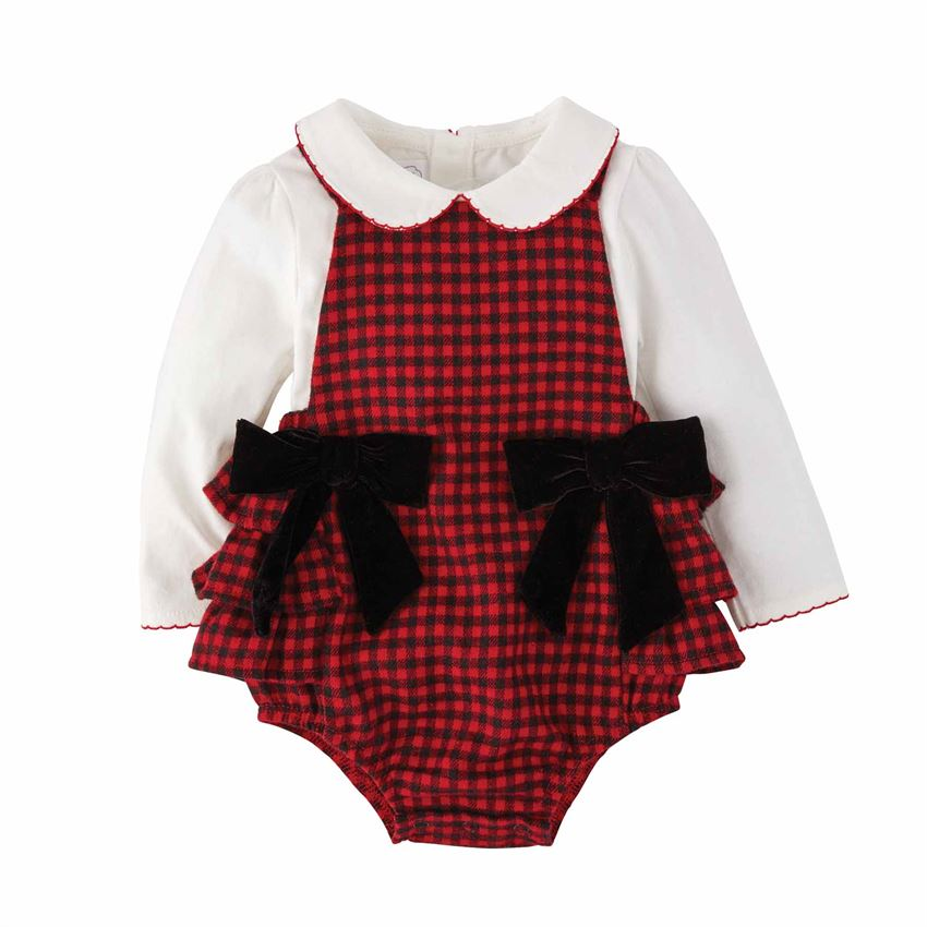 Mudpie Buffalo Check Pinafore Set Size 3-6 Months