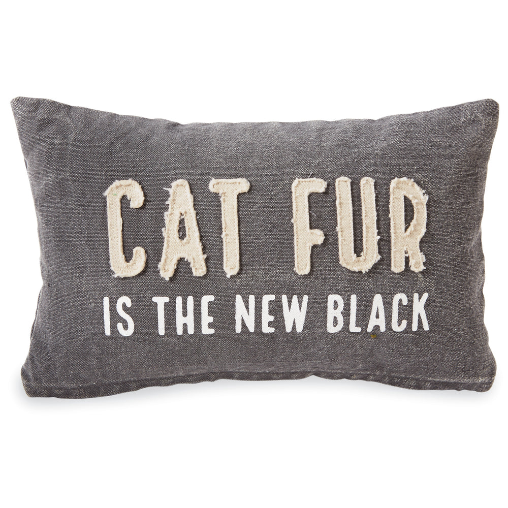 Cat Fur is the New Black Washed Canvas Pillow