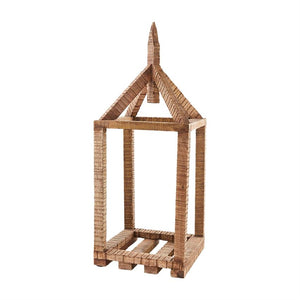 Mud Pie Brown Mango Wood House Lantern *Pick Up Only*