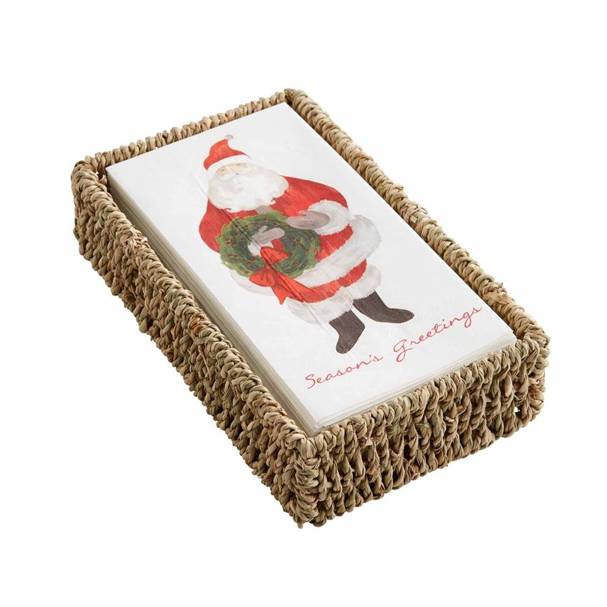 Santa Powder Room Napkins with Basket Set