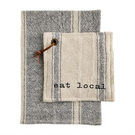 Load image into Gallery viewer, Mud Pie Eat Local Pot Holder & Towel Set
