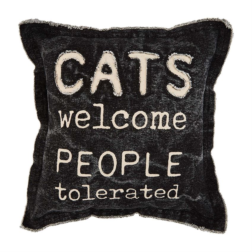 Mudpie Cats Welcome People Tolerated Canvas Pillow