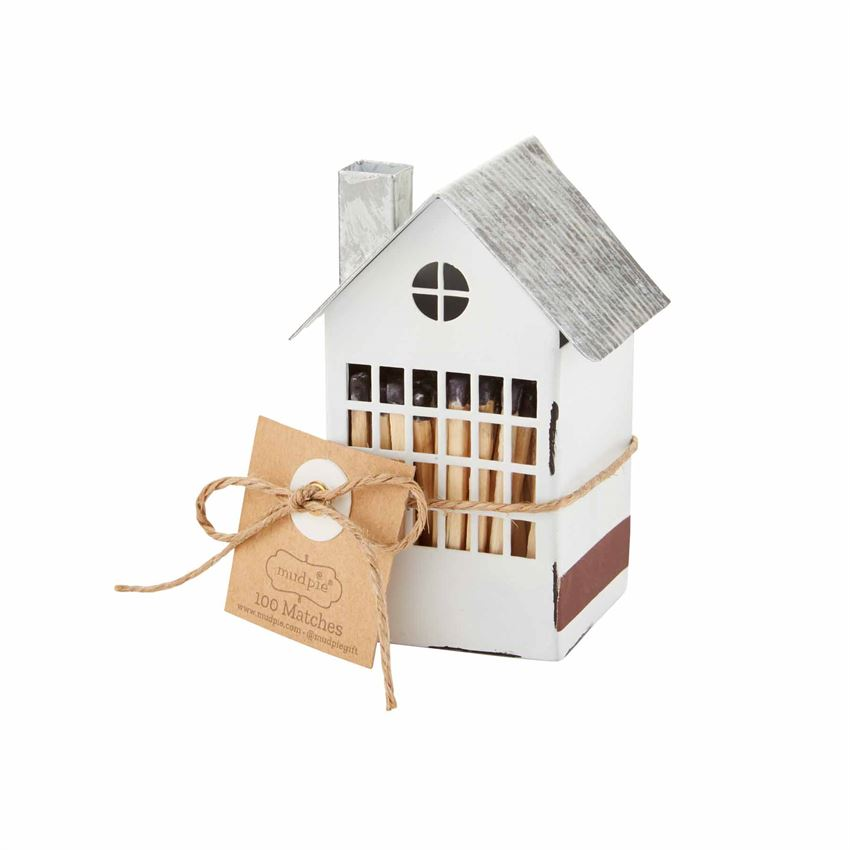 Mud Pie White Tin Matchbox House