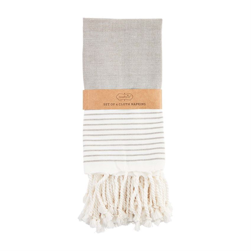 Mud Pie Gray Stripe Turkish Napkin Set