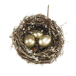 Small Nest with Sparkles and Golden Eggs