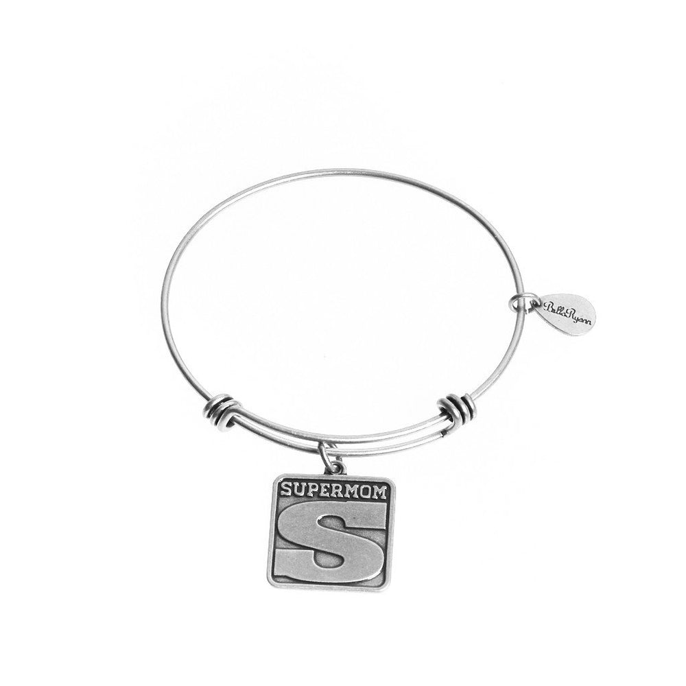 "BellaRyann ""Super Mom"" Expandable Bangle Charm Bracelet"