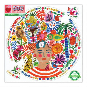 Load image into Gallery viewer, eeBoo Positivity 500 Piece Round Puzzle