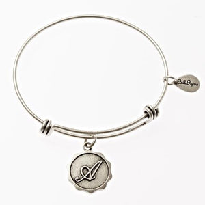 Letter A - Expandable Bangle Charm Bracelet in Goldtone and Silvertone