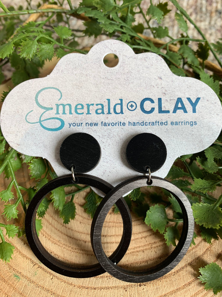 "Emerald & Clay ""Post+Hoop"" Wood Earrings"