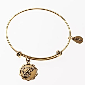 Letter C - Expandable Bangle Charm Bracelet in Goldtone and Silvertone
