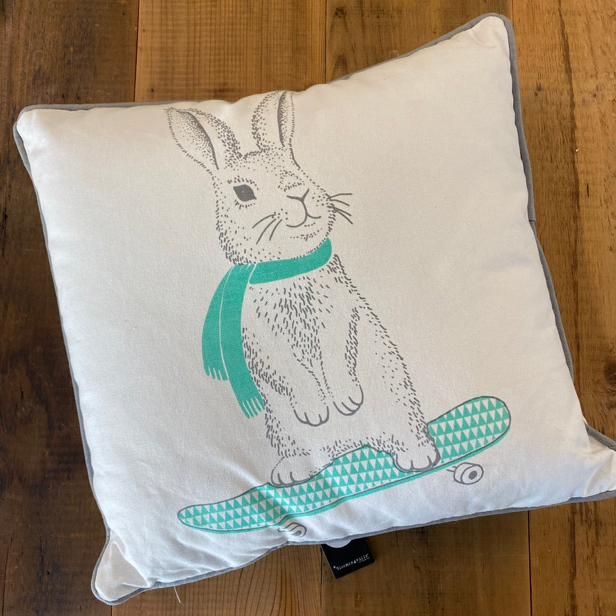 Skateboarding Rabbit Throw Pillow