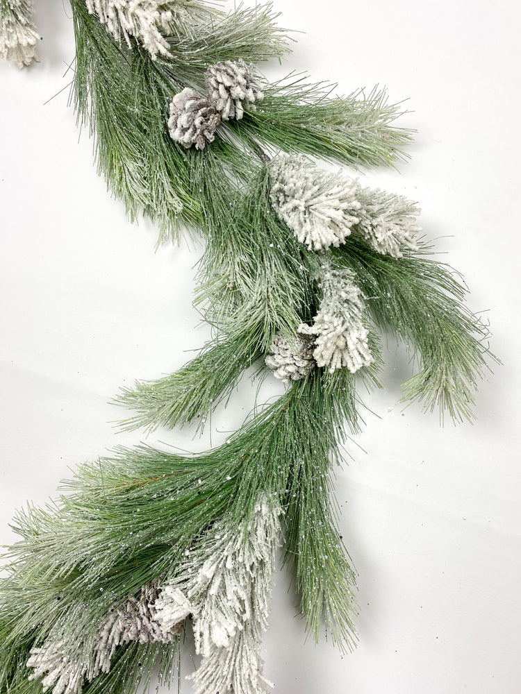 6' Glitter Garland with Snow and Pinecones V4552