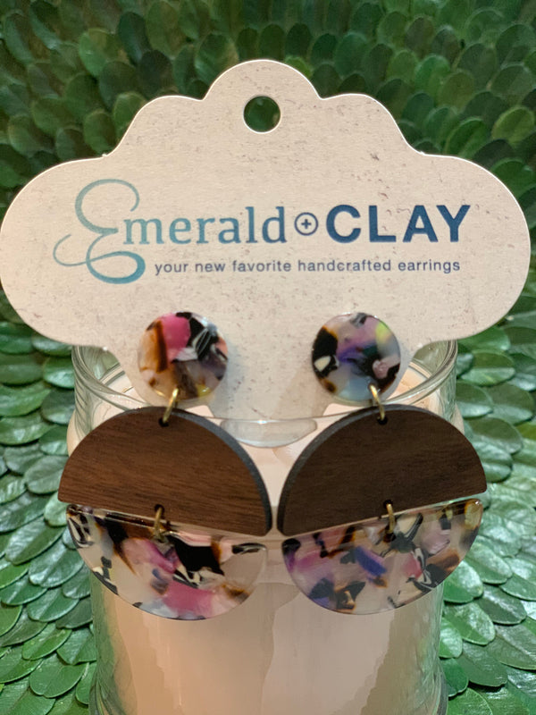 Emerald and Clay Hinged Circle Acrylic Earrings
