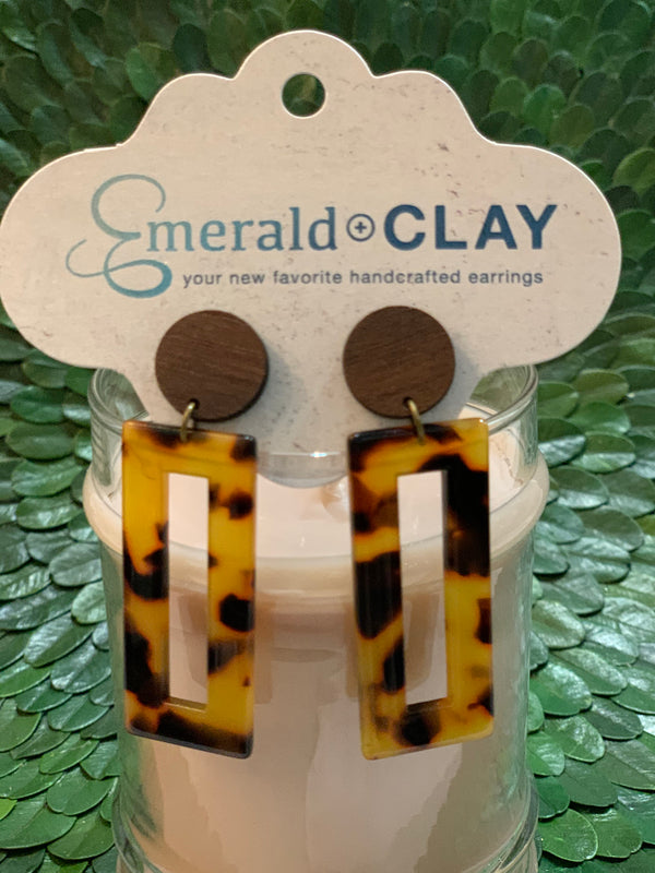 Emerald and Clay Rectangle Acrylic Earrings