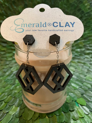 Load image into Gallery viewer, Emerald & Clay Wooden Hex Drop Earrings