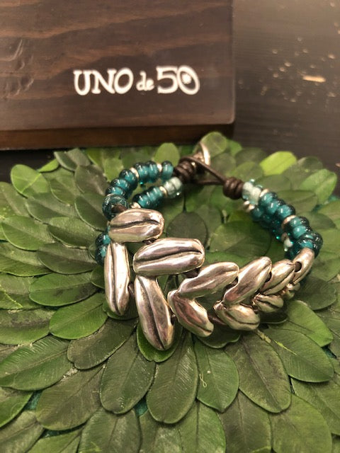 Uno de 50 Harvest Leather and Silver Bracelet