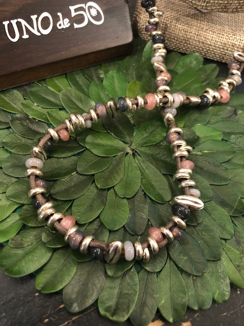 Uno de 50 Long Wheat Leather Necklace
