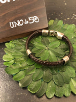 Uno de 50 Large Braid Leather and Silver Bracelet
