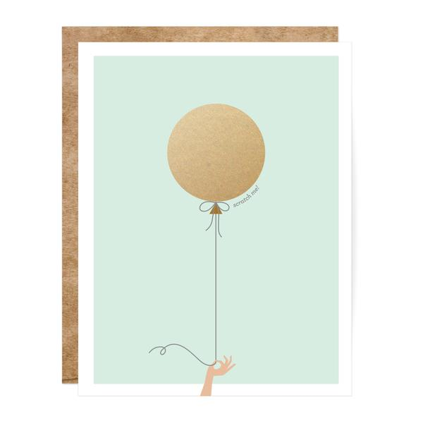 Mint & Gold Balloon Scratch-off Card