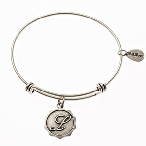 Letter L - Expandable Bangle Charm Bracelet in Goldtone and Silvertone