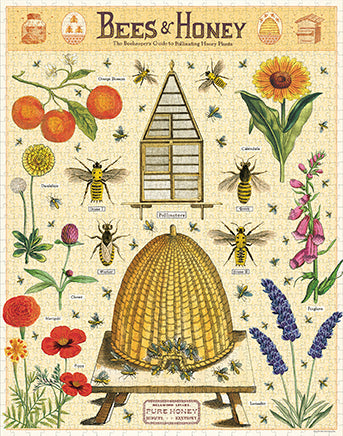 Cavallini & Co. Bees & Honey 1000 Piece Vintage Puzzle