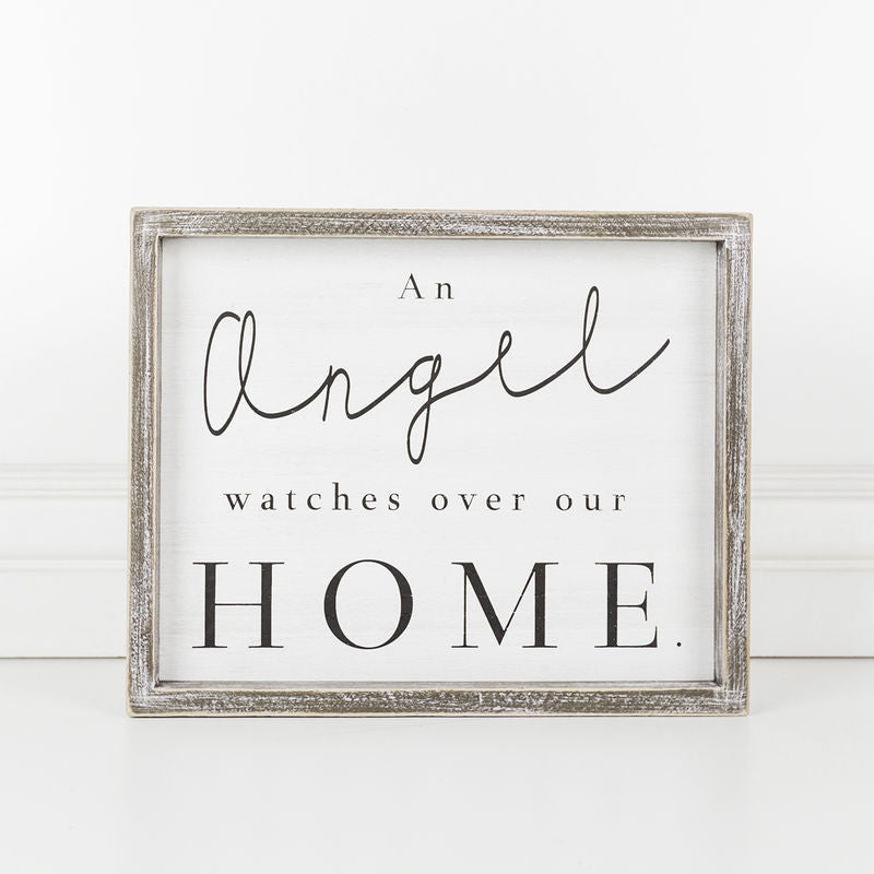 An Angel Watches Over Our Home Framed Sign 19249