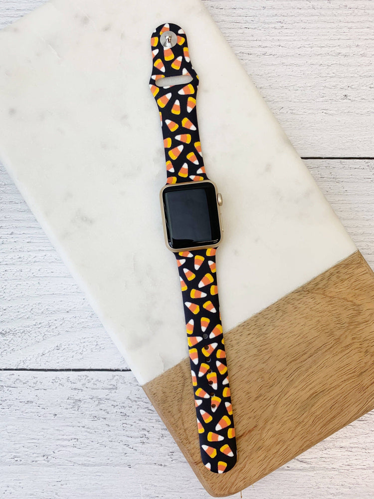 Black & Candy Corn Printed Apple Watch Band
