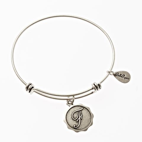 Letter F - Expandable Bangle Charm Bracelet in Goldtone and Silvertone
