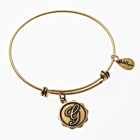 Letter G - Expandable Bangle Charm Bracelet in Goldtone and Silvertone
